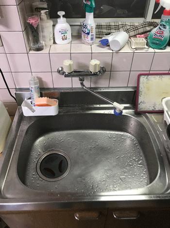 阪南市の台所蛇口水漏れ修理後の様子
