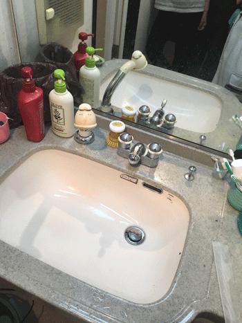 池田市洗面排水つまり作業後の様子