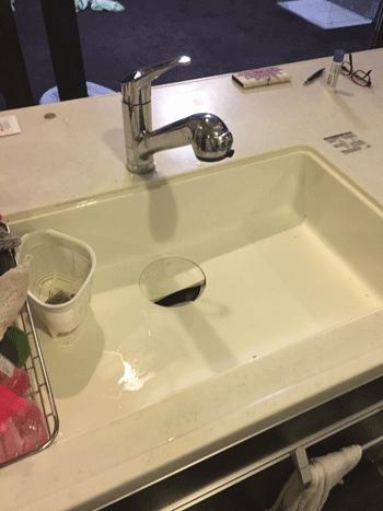 貝塚市の台所排水つまりの作業後の様子