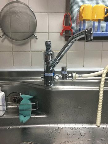 台所蛇口水漏れ作業後の様子