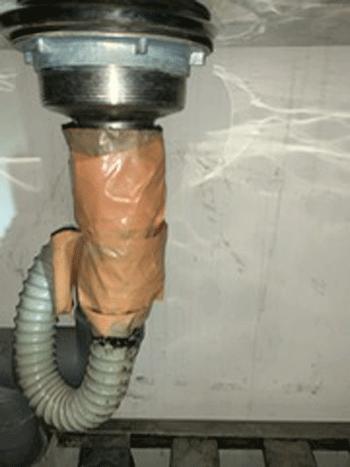 堺市の台所排水水漏れの様子