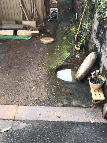 和泉市の屋外排水つまりの様子