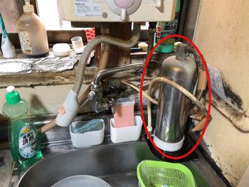 大阪市鶴見区の浄水器取り外し前の様子