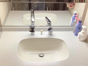 摂津市の洗面蛇口水漏れの様子