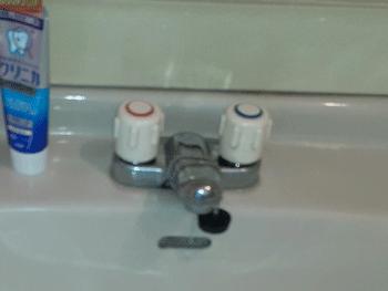 海南市の洗面蛇口水漏れの様子