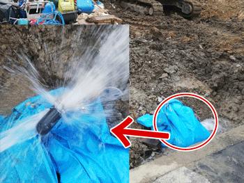 岸和田市の水道管水漏れの様子