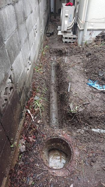 橋本市の排水管つまりの様子