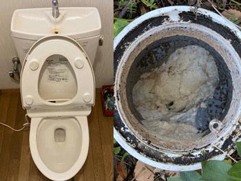 湖南市のトイレつまりと排水つまりの様子