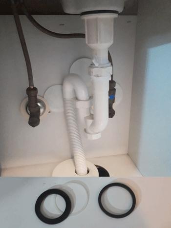 野洲市の洗面排水水漏れの様子