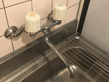 木津川市の台所蛇口水漏れの修理前の様子